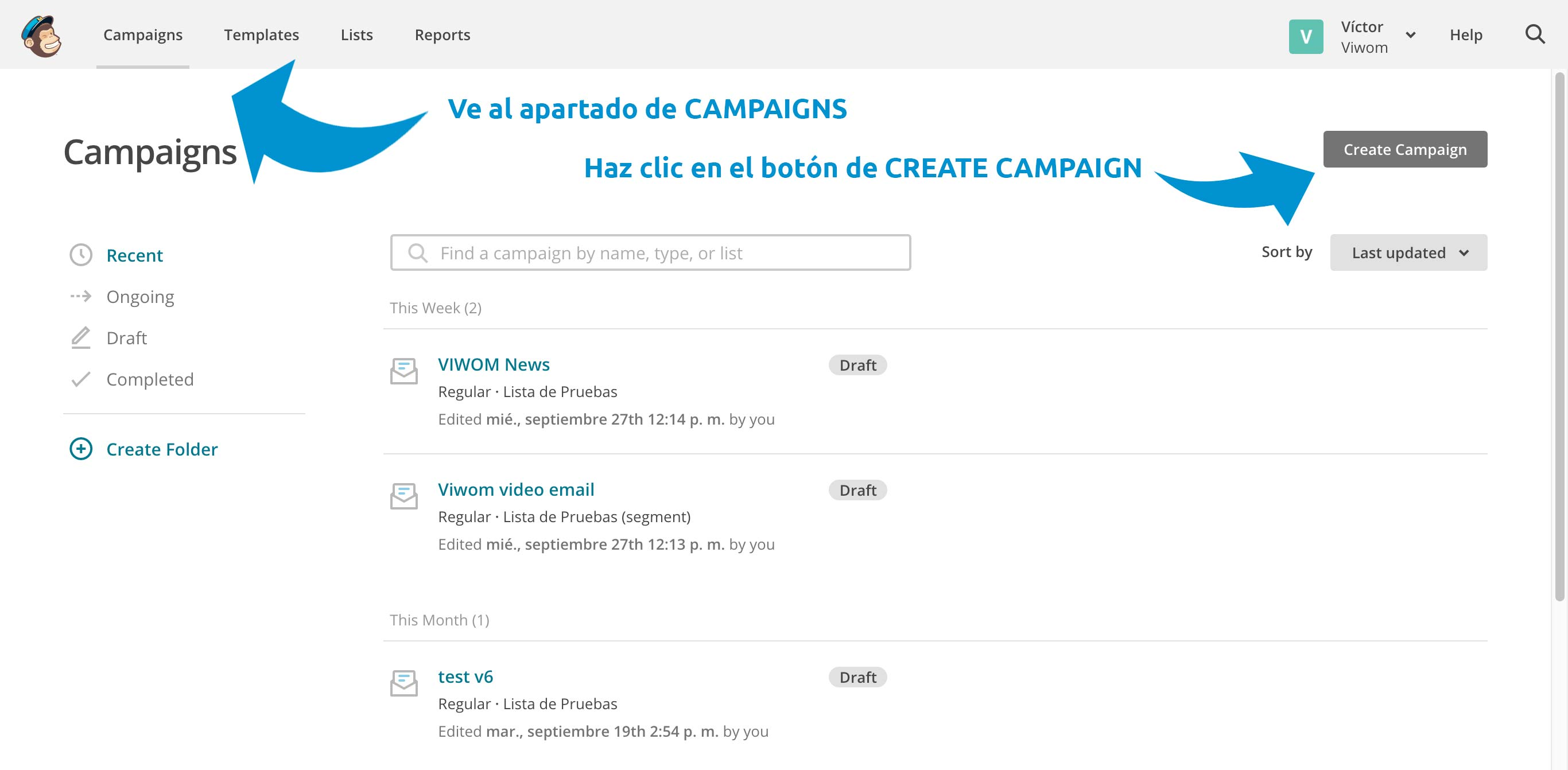 Cómo enviar vídeo con Mailchimp y Viwom