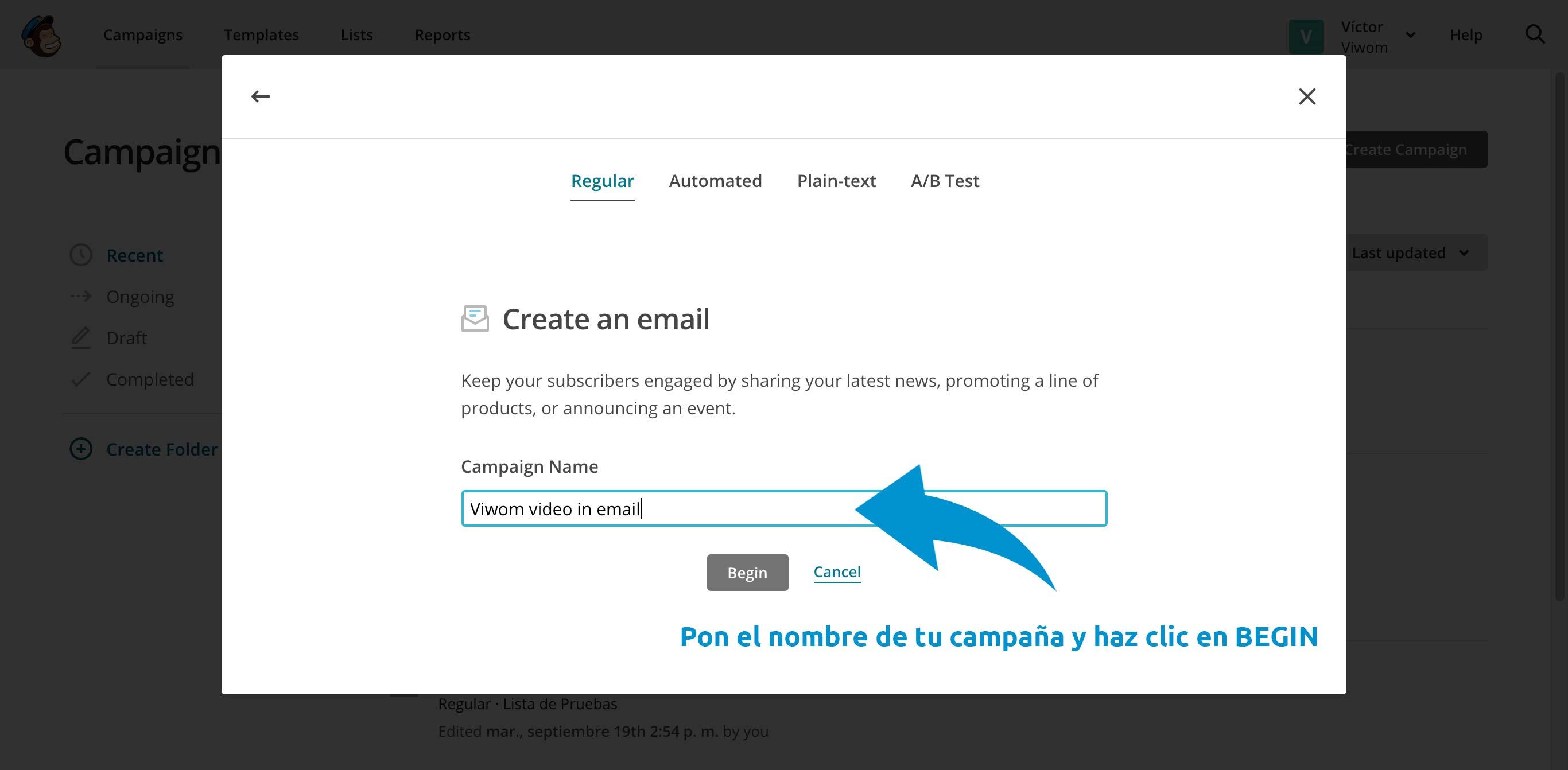 Pon el nombre de tu campaña