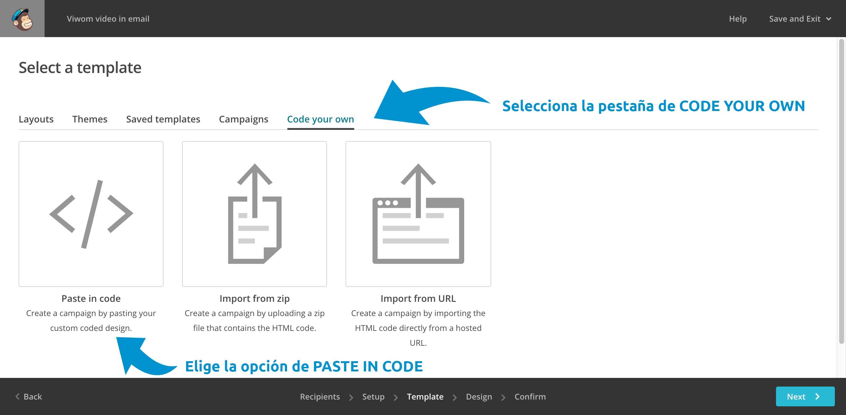 Selecciona code your own y paste in code